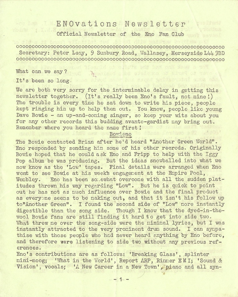 Enovations Newsletter 1977 (page 1)