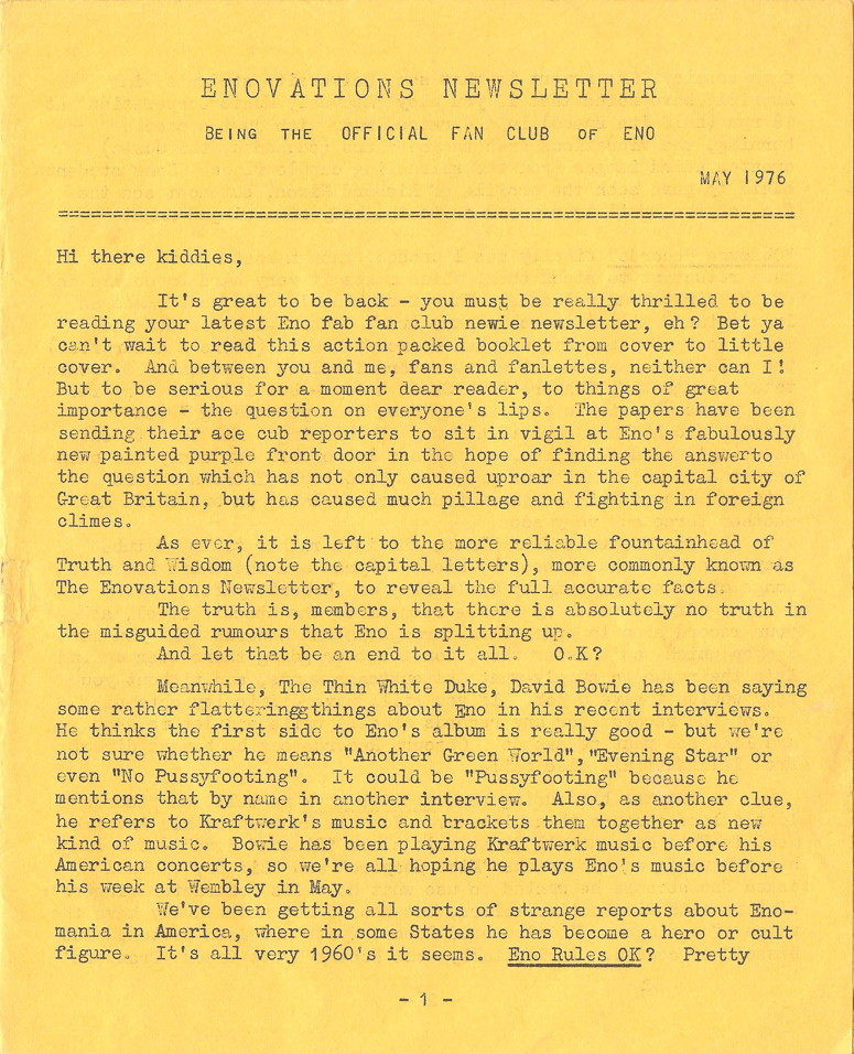 Enovations Newsletter May 1976 (page 1)